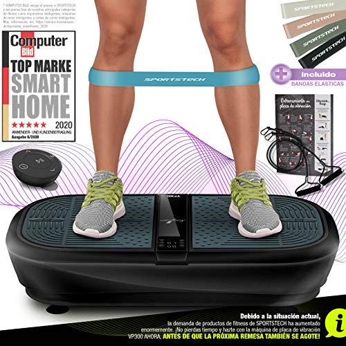 Sportstech 3D Plataforma Vibratoria VP300 | Mega Quema Grasa + 5 Bandas de Fitness Extra | Gran Superficie + Motor de Oscilación Silenciosa + Altavoces Bluetooth + Mando a Distancia y Póster