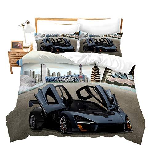 Juego de cama con diseño de coche de carreras en 3D, de microfibra, calidad celestial, moderno, funda nórdica con 1 funda de almohada, 2 piezas 135 x 200 cm + 80 x 80 cm, para niños y niños