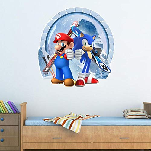 Animeenniv Fototapete Selbstklebend Tapete Wandtattoo Wandaufkleber Hot 3D Super Mario Wandaufkleber Durch Die Wand Stereo Dekorative Malerei-120 * 80cm-A_80*120CM