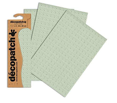 Decopatch Papier No. 650 (grün Pastell geometrische Formen, 395 x 298 mm) 3er Pack