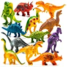 "Prextex Realistic Looking 7"" Dinosaurs Pack of 12 Toys for Boys and Girls 3 Years Old & Up Large Plastic Assorted Dinosaur Figures with Dinosaur Book"