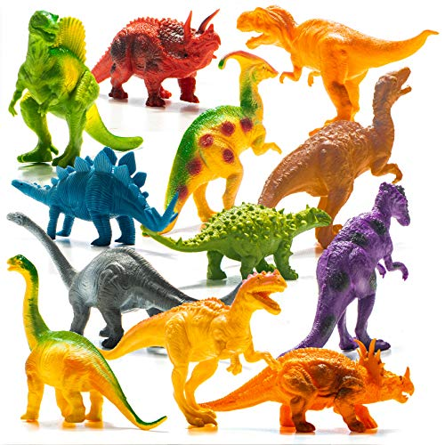 Prextex Realistic Looking 7' Dinosaurs Pack of 12 Toys for Boys and Girls 3 Years Old & Up Large Plastic Assorted Dinosaur Figures with Dinosaur Book