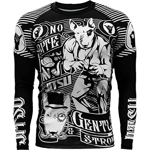 Jitsu Gentle & Strong Rash Guard Men's Camisa de Compresión Hombre MMA BJJ Fitness Artes Marciales Boxeo Grappling No Gi