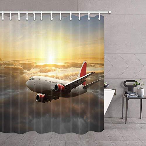 lovedomi Aircraft Decor Duschvorhang Flugzeug in den Himmel Wolken bei Sonnenuntergang Upgrade Polyestergewebe Duschvorhänge Badvorhang Zubehör mit 12PCS Haken 69x70 Zoll