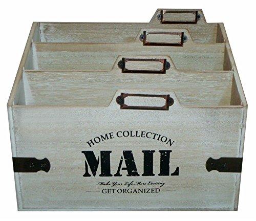 Eurosell Holz Schreibtischorganizer Brief Post Ablage Briefablage Postablage Briefständer Vintage Retro Design Designer Dokumenten Prospekte Ständer