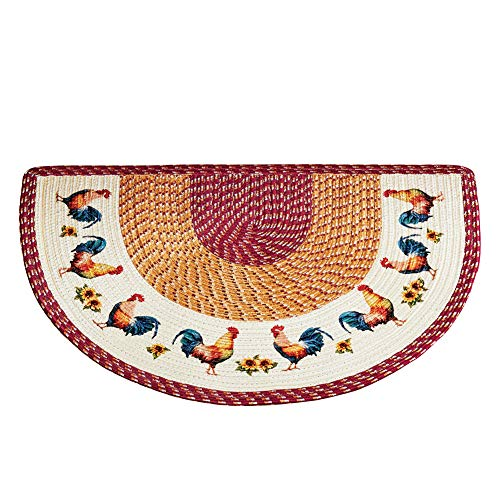 Braided French Country Rooster Slice Shaped Accent Rug - Decor for Kitchen 30 x 20 inches