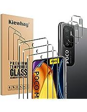 Kiewhay Schermbeschermer Compatibel met Xiaomi Redmi Note 10 5G/ Poco M3 Pro 5G Screen Protector 6,5'', 3x Gehard Glas +2x Camera Lens Protector, 9H HARDHEID HD Screenprotector - 5 Stuks