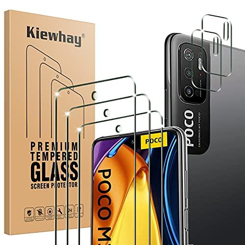 Kiewhay Protector de Pantalla Compatible con Xiaomi Redmi Note 10 5G/ Poco M3 Pro 5G Cristal Templado 6,5'', 3x Vidrio Templado +2x Protector de Lente de Cámara, HD Protector Pantalla - 5 Piezas