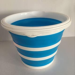 Seau pliant portable de 10 litres, utilisé pour le camping, la plage, le jardinage, la pêche-Bleu