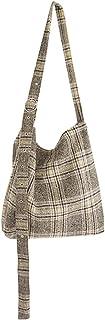 COAFIT Women Shoulder Bag Vintage Adjustable Grids Casual Bag Crossbody Bag