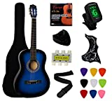YMC 38' Blue Beginner Acoustic Guitar Starter Package Student Guitar with Gig Bag,Strap, 3 Thickness...