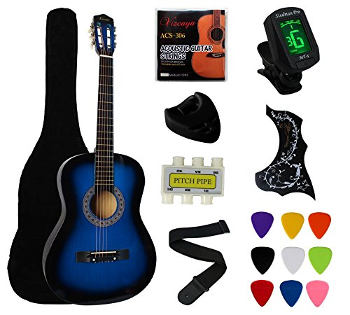 YMC 38' Blue Beginner Acoustic Guitar Starter Package Student Guitar with Gig Bag,Strap, 3 Thickness 9 Picks,2 Pickguards,Pick Holder, Extra Strings, Electronic Tuner -Blue