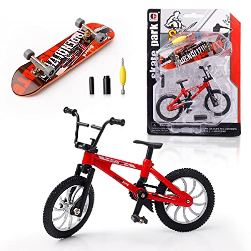 MOMSIV 1 Stück Mini Finger Skateboard + 1 Stück Mini Finger Fahrrad, Deck Truck Skate Park Rampe Zubehör Fingerspitze Bewegung Party Spiel Spielzeug für Kinder Junge