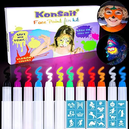 Qpout 12 Schwarzlicht Schminkstifte Farben Gesicht Malen Buntstifte,20 Stencils,Uv-Licht Schminke...