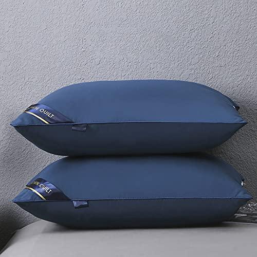 YUDIZWS 2 Piezas De Almohadas De Dormir Ultra Suaves,Relleno De Microfibra 3D De Rebote,Almohada Cama De Calidad Hotel Tamaño Estándar para Personas Que Duermen De Espaldas Y De Lado,Azul,Low Pillows