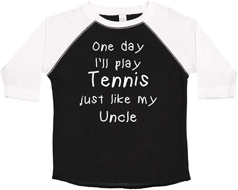 Toddler//Kids Raglan T-Shirt One Day Ill Play Tennis Just Like My Uncle