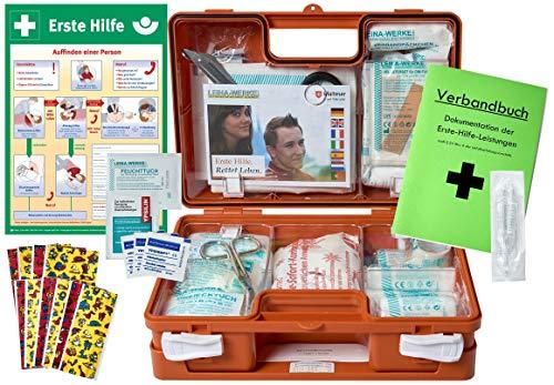*Erste-Hilfe-Koffer KITA PLUS -Paket 2- DIN/EN 13157 für Betriebe + DIN/EN 13164 für KFZ – incl. 1.Hilfe-AUSHANG*