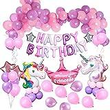 MMTX Decorazioni per Feste Unicorno, con 2pcs Enorme Palloncino Unicorno, Buon Compleanno ...