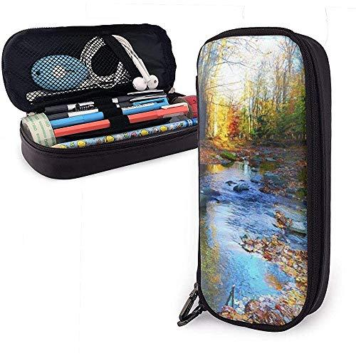 Federmäppchen Small River Leaves PU Ledertasche Aufbewahrungstaschen Portable Pencil Bag Zipper Wallets