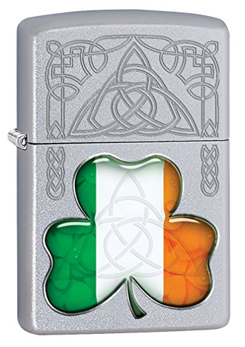 Zippo Lighter: Ireland Flag and Symbols - Satin Chrome 77118