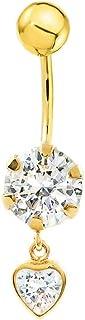 Piercing zircone 6 mm coeur 5 mm nombril or jaune 9 carats