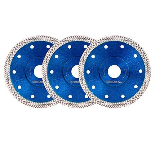 SODIAL Disco de Hoja de Sierra Circular de Diamante Turbo de 3 Piezas de 125Mm para Disco de Corte de Madera de Diamante Amoladora Angular de Azulejos de Porcelana de CeráMica