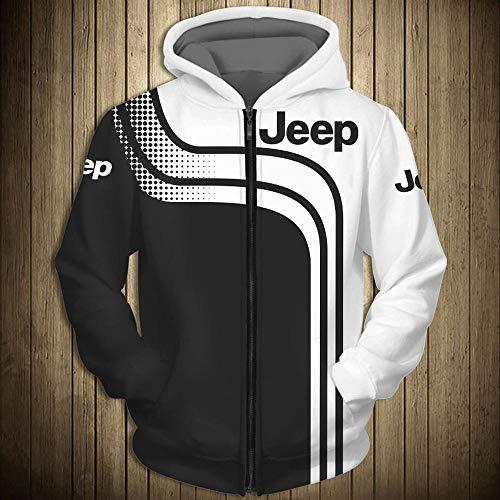 CSHASHA Hoodiepullover 3D-Sweatshirt - Jeep Gedruckt Kapuze Baseball-Trikot Frühling Lässige Sportswear Coat Top T-Shirt - Teens Geschenk Zip Hoodies-L