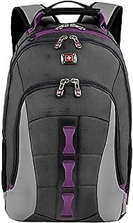 "SwissGear Skyscraper 16"" Padded Laptop Backpack/School Travel Bag Charcoal-Magenta"