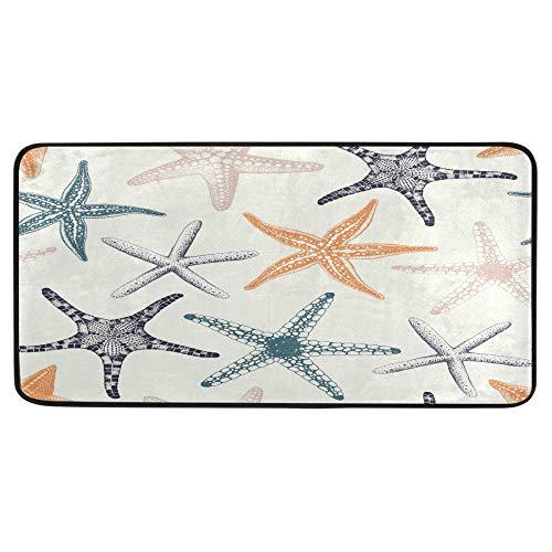Alfombra de cocina con diseño de estrellas de mar de colores pastel dibujada a mano, alfombrilla de baño, antideslizante, para baño, interior, 99 x 50 cm