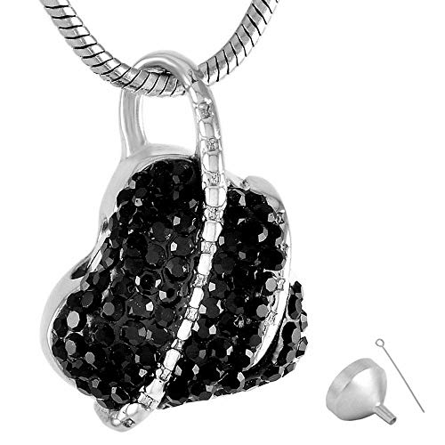 OPPJB Urna para Cenizas Collar con Colgante De Corazón con Forma De Recuerdo De Cremación De Urnas para Mascotas De Acero Inoxidable 316L Gris-B
