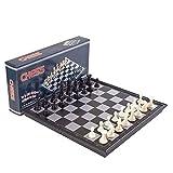 GLXLSBZ Juego de ajedrez de Viaje Internacional 3 en 1 Chess Checkers Juego de Backgammon para Adultos Niños Juego de ajedrez portátil Plegable estándar (Pensamiento Intelectual)