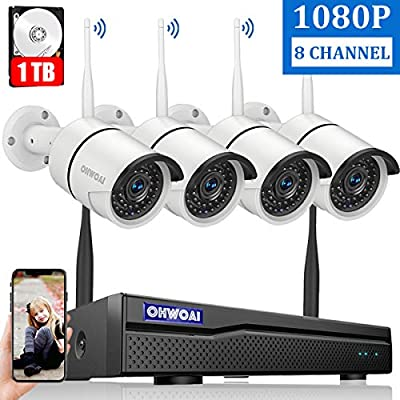 ?8CH Expandable? Home Security Camera System Wireless, OHWOAI 8 Channel 1080P Surveillance DVR Recorder with 1TB Hard Drive, 4Pcs 2.0MP 1080P Outdoor Wireless CCTV IP Cameras,Night Vision,Waterproof