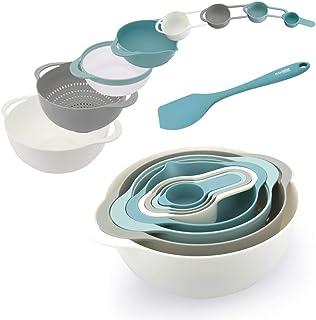 KALREDE Plastic Mixing Bowls – Mixing Bowl Set of 9 – BPA Free Nesting & Stackable