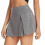 BXBX Falda deportiva para mujer, ligera, con bolsillos cortos, para correr, tenis, golf, entrenamiento, deportes, 0510 (color gris, talla: XS)