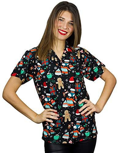 Funky Camisa Hawaiana Navidad, Christmas Gingerbread, Black, M