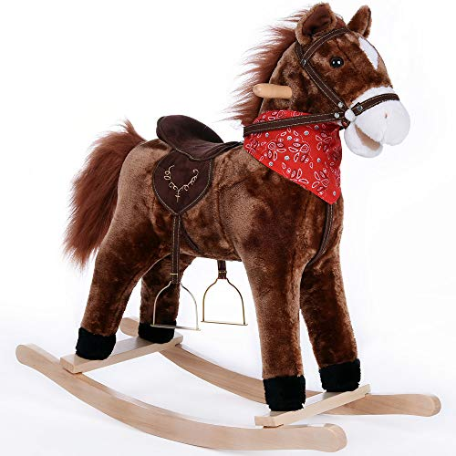 Deuba Rocking Horse Wooden Horse Unicorn Donkey Rocker Soft Plush Toddlers Kids Baby Children Toy (Horse)
