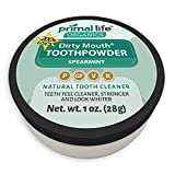Primal Life Organics | Dirty Mouth Organic Tooth Powder | Gently Polishes, Whitens, Re-Mineralizes, Strengthens Teeth | 1 Ounce (3 Month Supply) | Spearmint