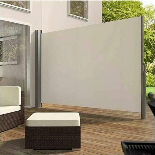 uyoyous Seitenmarkise Ausziehbar, 160 x 300cm Windschutz Sichtschutz, UV-beständig, Reißfestigkeit Seitlicher mit Sichtschutz, Sonnenschutz, Seitenrollo für Balkon, Terrasse und Garten - Beige