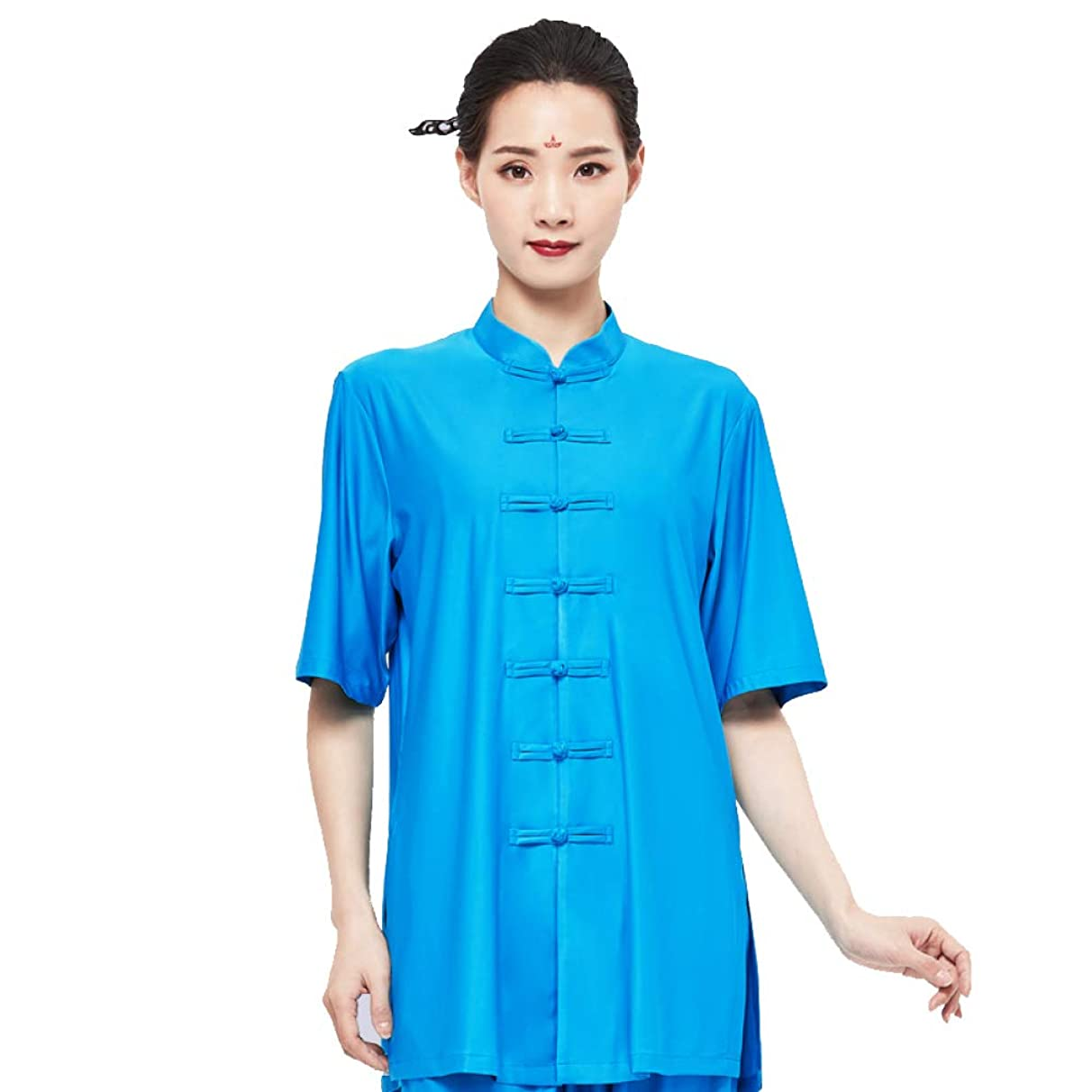 YXLONG Tai Chi Uniform Clothing Spring and Summer Milk Silk Short Sleeve Martial Arts Show Men and Women (S-XXL)