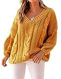 ZIYYOOHY Damen Grobstrick Strickpullover V-Ausschnitt Oversize Causal Langarmshirt Sweatshirt Pulli Outwear Mantel (L, Gelb)