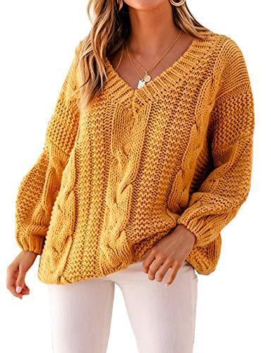 ZIYYOOHY Damen Grobstrick Strickpullover V-Ausschnitt Oversize Causal Langarmshirt Sweatshirt Pulli Outwear Mantel (S, Gelb)