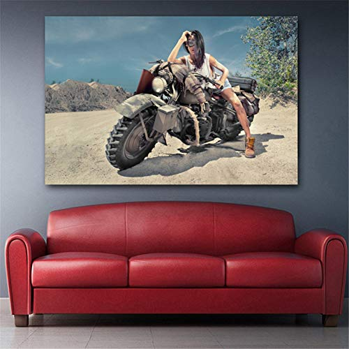 nr Girl on Desert Offroad Bike Motocicleta Imagen Arte de la Pared Carteles e Impresiones para Vivir…