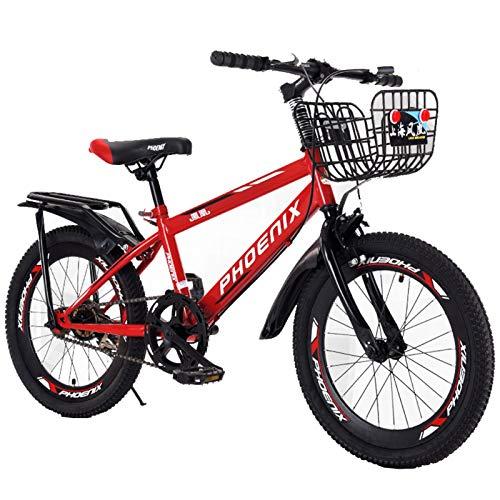 Axdwfd Infantiles Bicicletas 18/20 Pulgadas niñas y niñas Ciclismo, Adecuado para niños de 7 a 14 años, Rojo, Blanco, Azul (Color : Red, Size : 20in)