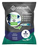 "Vacwel Jumbo Vacuum Storage Bags for Clothes, Quilts, Pillows, Space Saver Size 43x30"" Extra Strong (Pack of 6)"