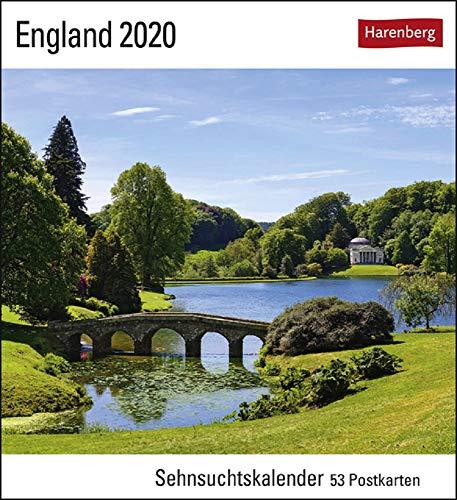 Sehnsuchtskalender England - Kalender 2020 - Harenberg-Verlag - Postkartenkalender mit 53 heraustrennbaren Postkarten - 16 cm x 17,5 cm