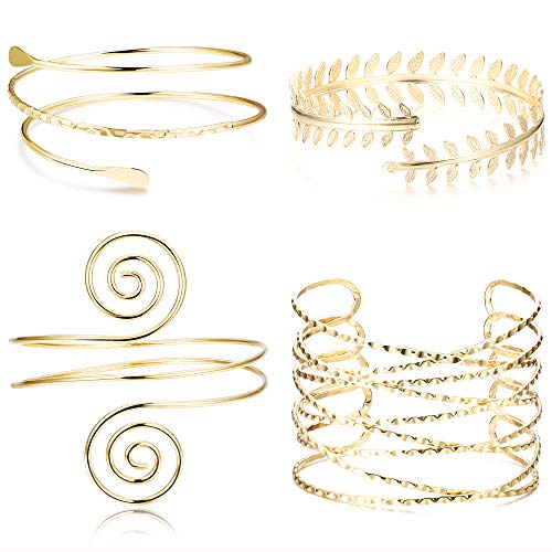 Jstyle 4Pcs Coil Upper Arm Cuff Open Arm Bracelet for Women Victorian Filigree Swirl Boho Armband Bangle Armlet Adjustable