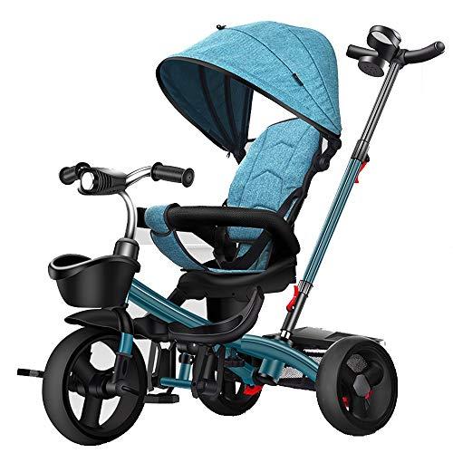 YumEIGE Tricycle Baby Balade driewieler voor baby's, 1-6 jaar oudschuim, instelbaar stuur, gewicht 50 kg met beschermende omheining, kinderdriewieler blauw
