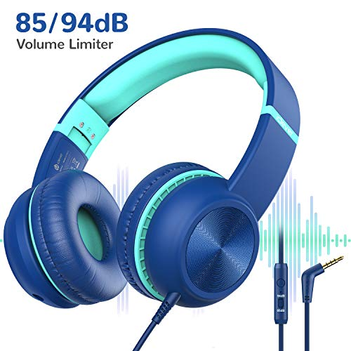 Kopfhörer Kinder, iClever Kopfhörer für Kinder, Lautstärkenbegrenzer mit Mikrofon, faltbar, 3.5mm Aux Nylonkabel, Kinderkopfhörer am Ohr für iPad, Tablett, Flugzeug, Schule