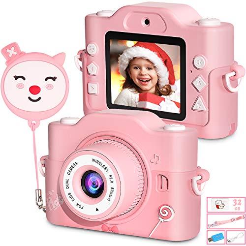 Appareil Photo Enfant, [Pixels HD 20MP/1080P], Double Objectif et Conception Anti-chute à Double Coque en Silicone, Cadeau Idéal pour Les Filles âgées de 3-10 Ans, Carte TF de 32 Go incluse (Rose)