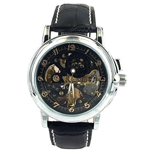 City Reloj para Hombre con Estructura de Color Negro, automático y mecánico, Correa de Cuero Negro